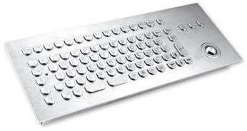 TKV-084-TB25V-MODUL Stainless Steel Keyboard - Industeel - with 25mm SS Trackball