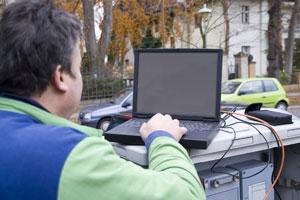 Engineer working outdoors
